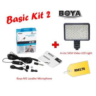 BOYA BY-M1 3.5 mm Lavalier Microphone + AList 165II LED Light (Basic Kit)