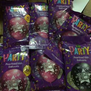 "Woolworths Pearlized 18th Latex Printed Balloons 6pcs -12"" (Debut)"