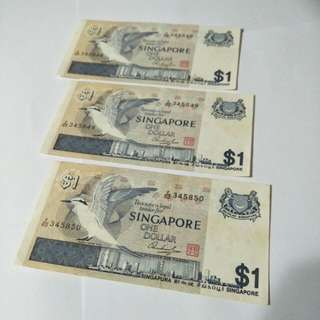 3pc old sg $1 running number notes  3pc x $2.70¢