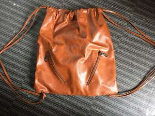 Leather Drawstring Bag (Brown)