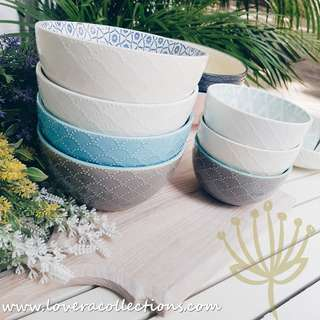 Repeat Scallop Patterns Assorted Colors Rice & Soup Bowls Dining Dishes Dinnerware Tableware Diningware