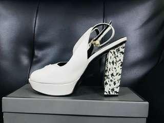 Pedro white marble eep toe heels