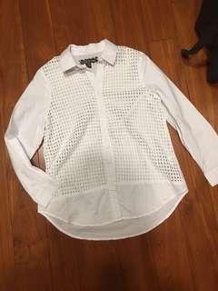 鏤空上衣 白襯衫