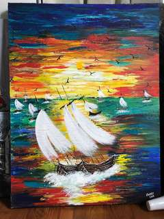 Knife painting of sunset with boats