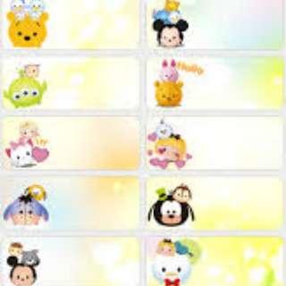 Name Stickers - Tsum Tsum
