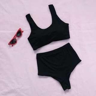 Sporty Back Tie Bikini Set