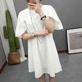 Plain White Ruffle Dress