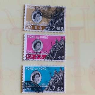 香港郵票1962年香港郵政百週年纪念已銷郵票 一套