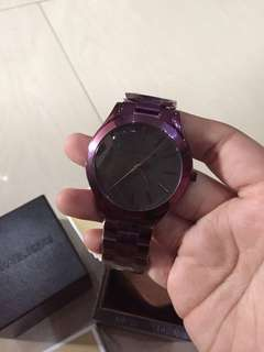 MK SLIM RUNWAY WATCH PLUM