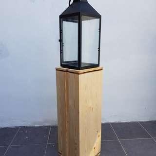 Rental - Wood pedestal for lamp/lantern