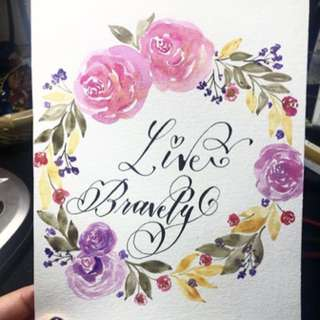 Calligraphy cards with flowers border
