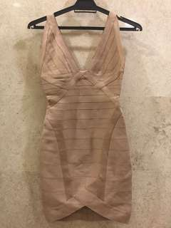 Herve Leger bandage dress in nude
