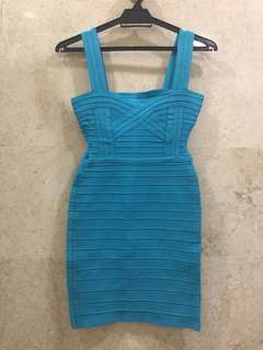 Herve Leger bandage dress in turquoise