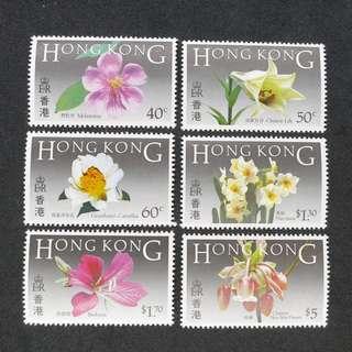 1985年香港花卉主題郵票一套  (原膠,MNH)