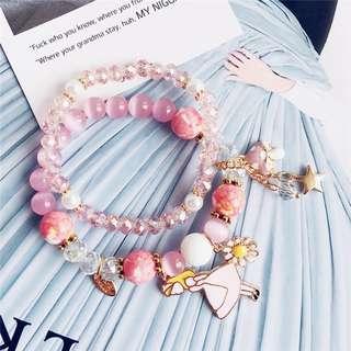 粉紅貓眼水晶手鏈