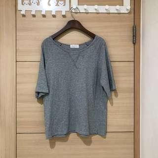 二手Meier.q 台灣製棉質胸前交叉設計麻花灰短袖上衣