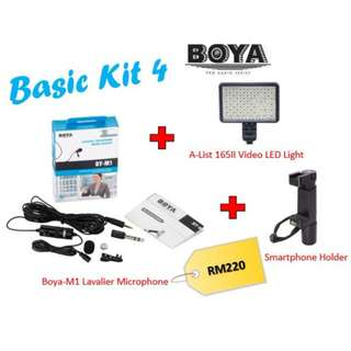 BOYA BY-M1 3.5 mm Lavalier Microphone + AList 165II LED Light + Smartphone Holder  (Basic Kit)