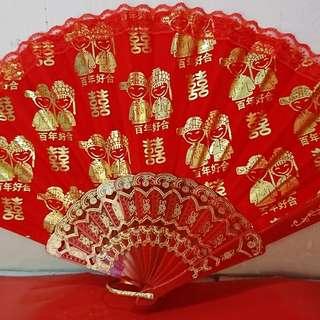 Wedding umbrella and hand fan