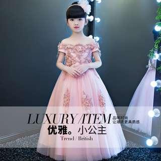 Elegant Princess off Shoulder Girls Evening Dress Long Pink Gown