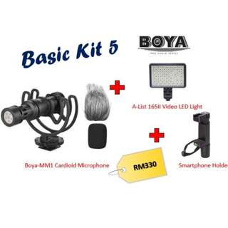 Boya BY-MM1 Shotgun Video Microphone + AList 165II LED Light + Smartphone Holder (Basic Kit)