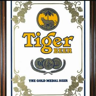 Vintage Tiger Beer Mirror Framed
