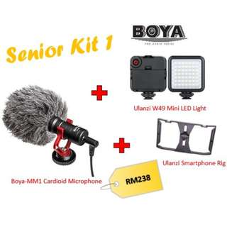 Boya BY-MM1 + Ulanzi W49 LED + Ulanzi Smartphone Rig (Senior Kit)