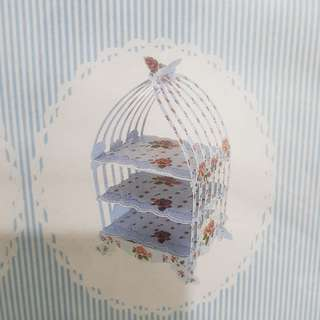 Brand new 3 tier bird cage cake stand in blue floral