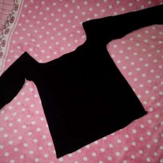 Black off shoulder long sleeves