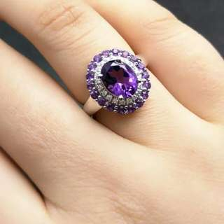 Ladies Amethyst 925 Sterling Silver Ring