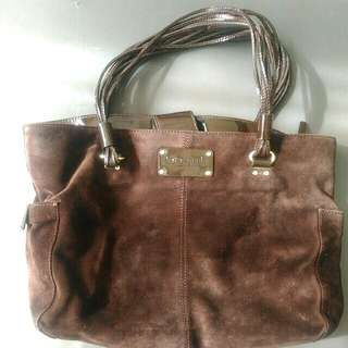 AUTHENTIC Kate Spade Brown Suede Tote Purse w/ Patent Leather details & gold hardware