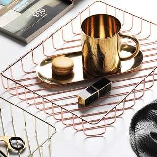 PO Rose Gold Multipurpose Iron Grid Tray