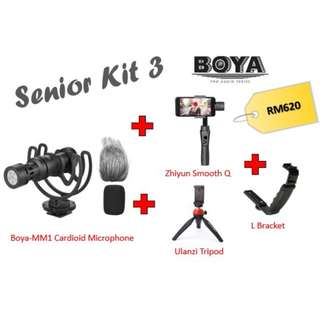 Boya BY-MM1 + Zhiyun Smooth Q + Ulanzi Tripod + L-Bracket (Senior Kit)