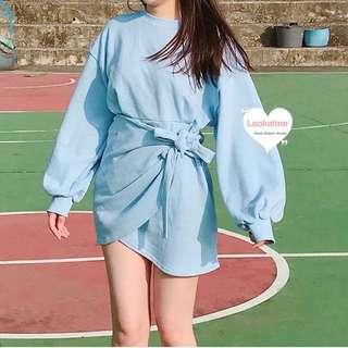 韓國 淺藍色 棉質 連身裙