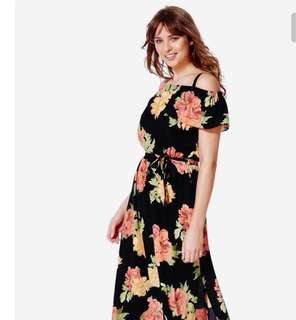Off shoulder flora maxi dress