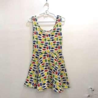 Printed sleeveless casual dress