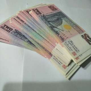 200pc of sg old $2 notes