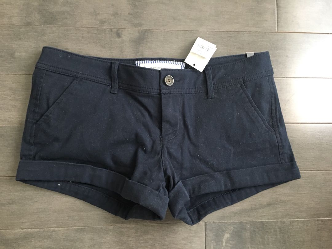 Abercrombie & Fitch Navy Blue Cotton Shorts size 2 26 new with tags
