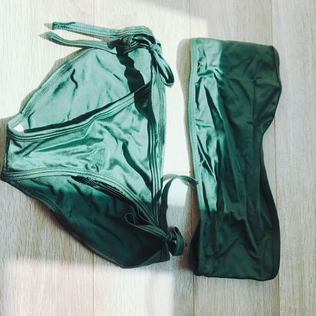 American Apparel Bikini Set Dark Green size small