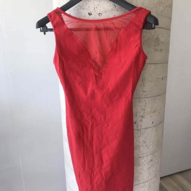 American Apparel Red Bodycon Dress Size L fits small