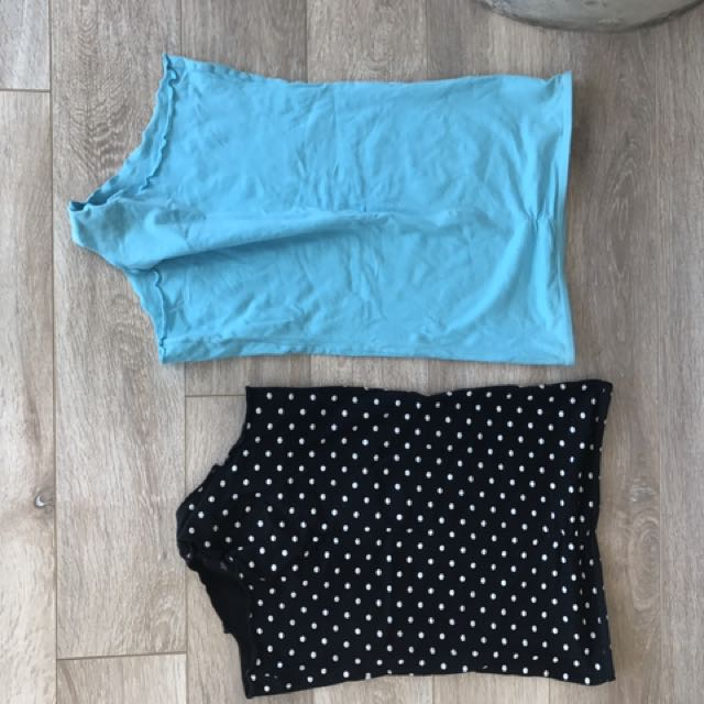 American ApparelBody Suits Aqua & Polka Dots Size Small