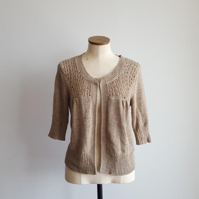 Beige Crochet Cardigan