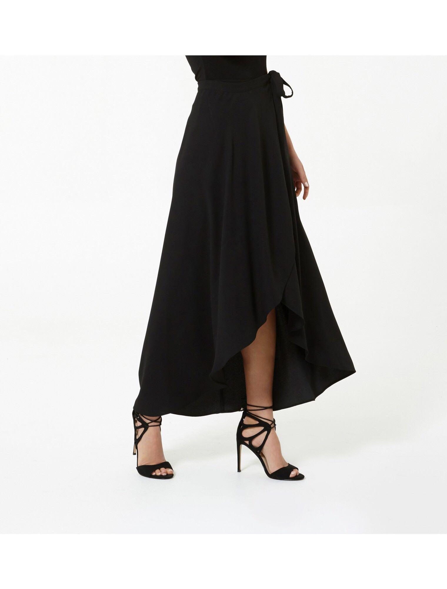 b79e61afa1 Black wrap maxi skirt, Women's Fashion, Clothes, Dresses & Skirts on ...