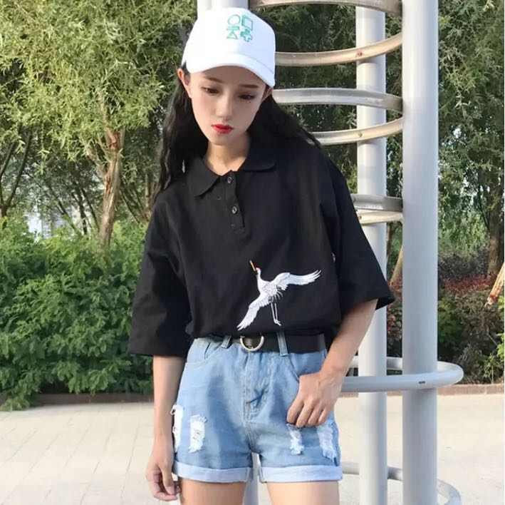 a823e6a8 BNWT Korean embroidered oversized polo, Women's Fashion, Clothes, Tops on  Carousell