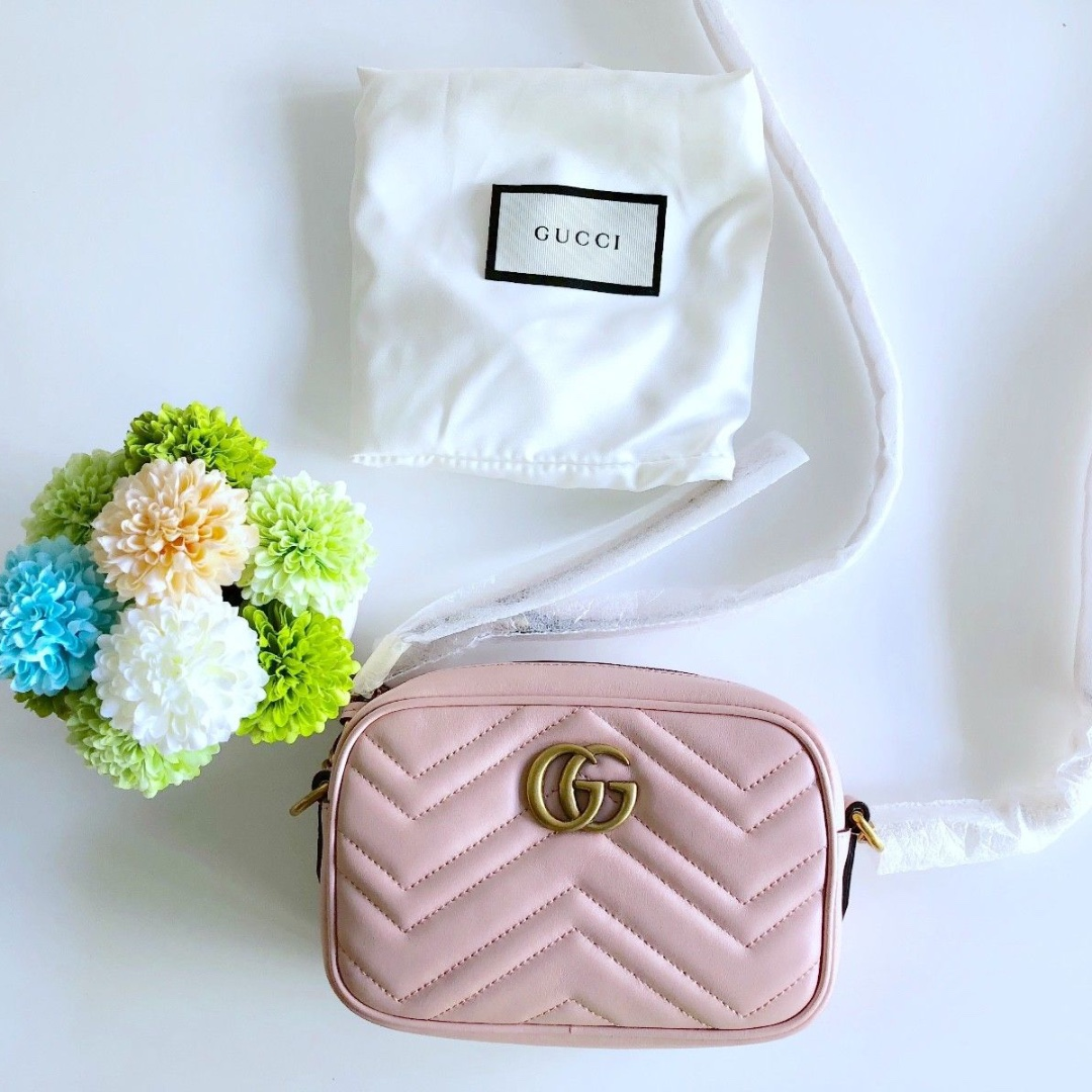 5c101b74bbd BRAND NEW AUTHENTIC Gucci GG Marmont Matelassé Mini Bag Light pink on  Carousell