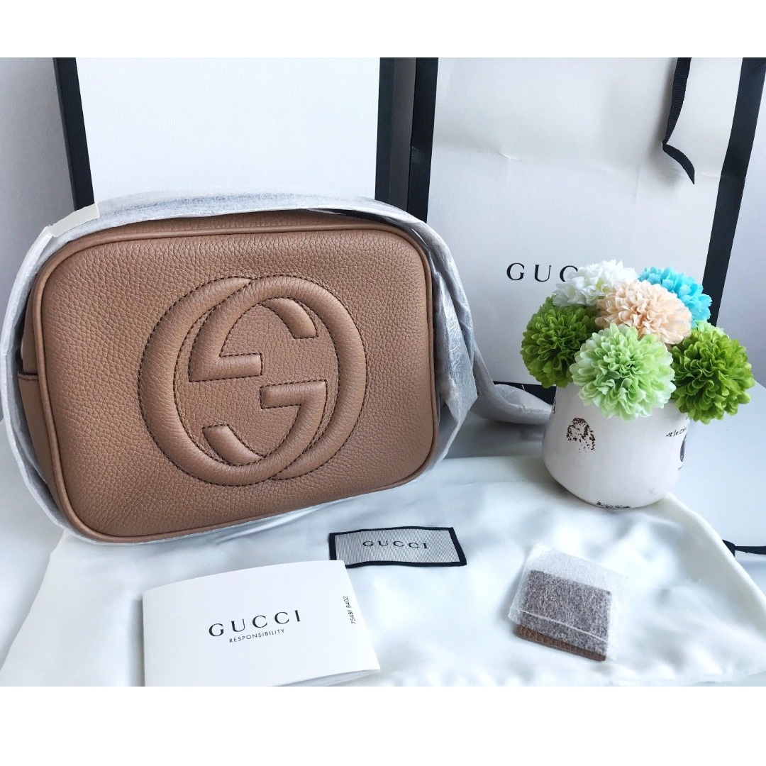 5ae640d930f BRAND NEW AUTHENTIC Gucci Soho small leather disco bag (rose beige ...