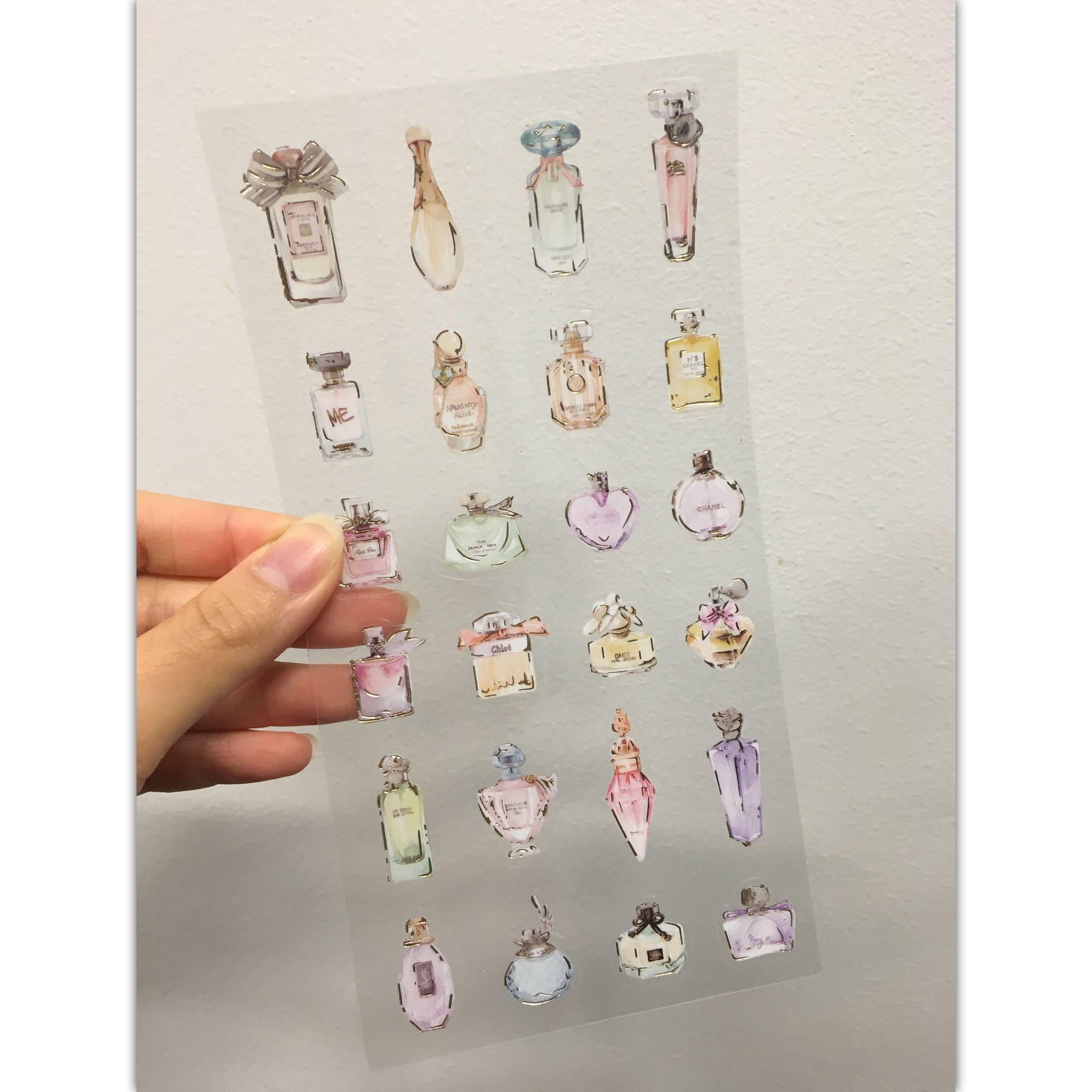Branded perfumes sticker glittering