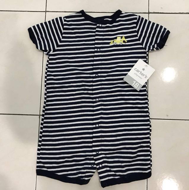 6fb02aa0b Carter s Playwear Baby Boy Navy Blue White Stripes With Bulldozer ...