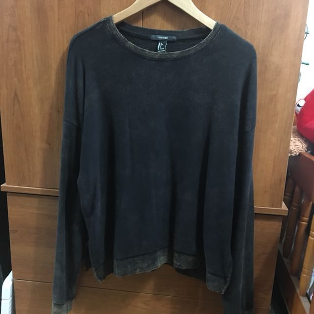 F21 Acid Wash Cropped Sweater