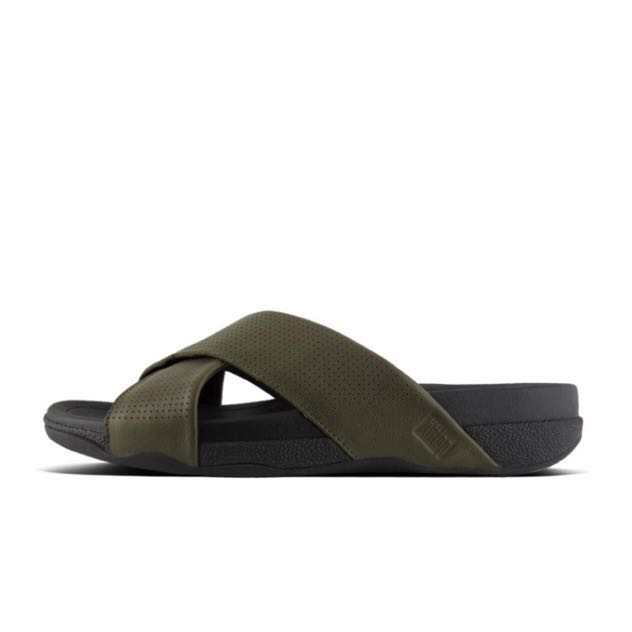 3acb8c91b8ee FitFlop SURFER™ Perforated Leather Slide Sandals