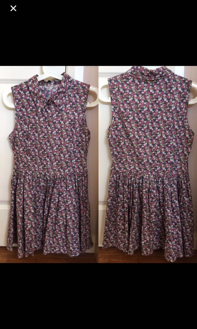 Flower patterned dress with collar